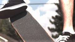 Super slow motion skateboarding fs heelflip Stock Footage