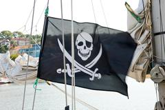 Flag of a pirate skull and crossbones Stock Photos