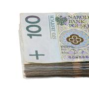 pack of polish zloty isolated on white background - stock photo