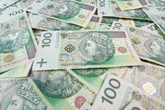 seamlessly tileable and repeatable 100's pln (polish zloty) currency - stock photo