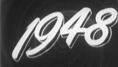1948 YEAR Vintage Old 1940s Film Title Graphic Leader 8mm 7109 Stock Footage