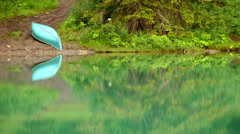 Canoe on the Lake Shore Stock Footage