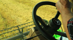 driving a combine - stock footage