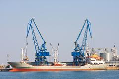 Container ship at the port balchik of bulgaria Stock Photos