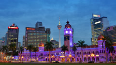 The night view over Merdeka Square, Malaysia Stock Footage
