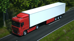 Truck driving along country road Stock Footage