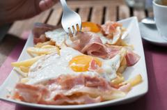 Breakfast with bacon and eggs - stock photo