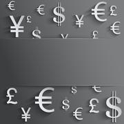 Business background with various money symbol Stock Illustration