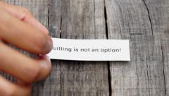 Quitting is not an Option Stock Footage