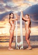 surfer girls on the beach at sunset in hawaii - stock photo