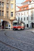 Stock Photo of street railway in prague