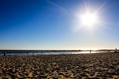 sandy beach in Los Angeles - stock photo