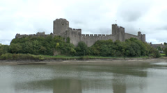 Pembroke Castle, Pembrokeshire, Wales, UK Stock Footage