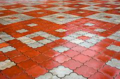 Stock Photo of paving stone pattern. red and gray  stones