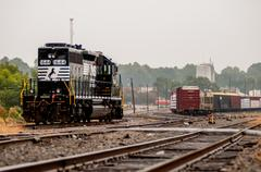 parked black freight train - stock photo