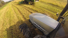 Combine and tractor harvester rice Stock Footage