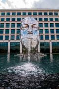 Metalmorphosis mirror fountain by, david Cerny Stock Photos