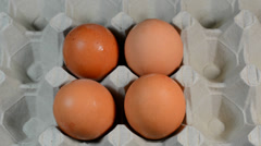 Eggs from cardboard Stock Footage