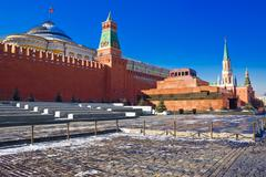 Red square and the mausoleum - stock photo