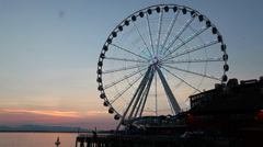PUGET SOUND FERRIS WHEEL_SUNSET_SEATTLE Stock Footage
