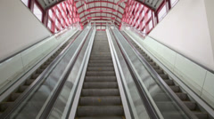 Two lines of escalator move up and down, one is in reserve Stock Footage