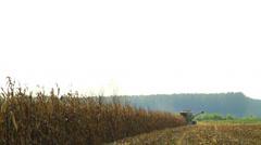 Combine harvester corn Stock Footage