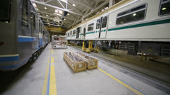 New trains at assemblage in Mytishchi Metrovagonmash factory Stock Footage
