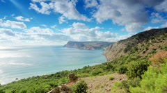 4K. Cloudy sky over the mountains and the sea. Balaklava Stock Footage