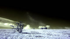 4K. InfraRed landscape: Movement of the clouds on the mountain. Stock Footage
