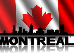 Montreal skyline and text reflected with rippled canadian flag illustration Stock Illustration