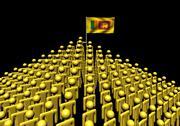 Pyramid of abstract people with sri lanka flag illustration Stock Illustration