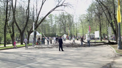 People remove old trees in park where many people walk Stock Footage