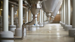 Complex constructions of cisterns for beer production Stock Footage
