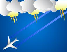 Airplane and thunder Stock Illustration