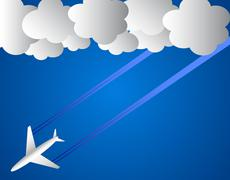 Airplane and white clouds Stock Illustration