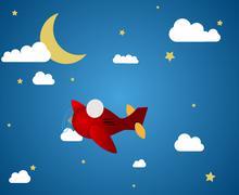 Airplane at night Stock Illustration