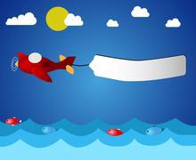 Airplane over ocean Stock Illustration