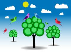 Birds and green trees Stock Illustration