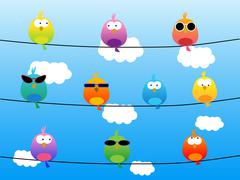 Birds with sunglasses Stock Illustration