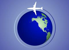 The globe and airplane Stock Illustration