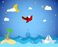 Tropical island and airplane Stock Illustration