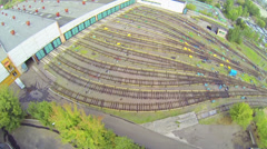 Aerial view of entrance to subway depot at daylight Stock Footage