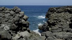 Gap in Black Basalt Cliffs - stock footage