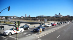 Going by bus-tour through Madrid, Spain. Stock Footage