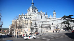 Driving through Madrid streets with Cathedral Stock Footage