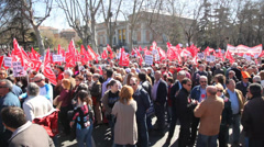 Demonstration of Communist Party of Spain, Madrid Stock Footage