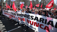 People of Communist Party of Spain protesting on street Stock Footage