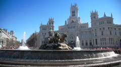Beautiful front view of Cibeles fountain at Cibeles Square Stock Footage