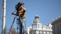 Videooperator shoots demonstration of Communist Party of Spain Stock Footage