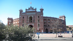 Front view of famous bullfighting arena Plaza del Toros Madrid Stock Footage